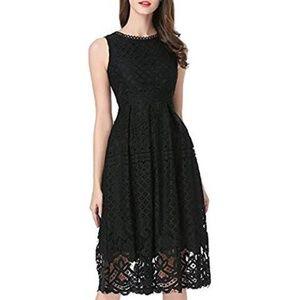 VEIISAR Fashion Sleeveless Lace Fit Flare Dress